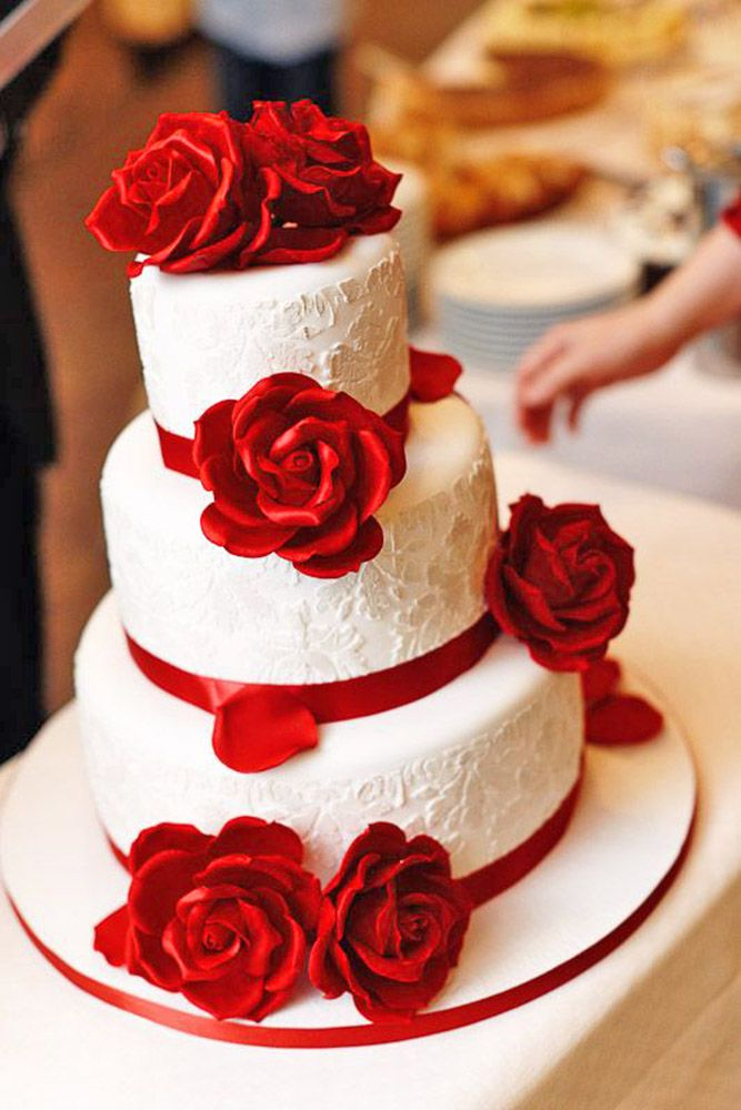 30 Beautiful Wedding Cakes The Best From Pinterest Wedding Cake Red Red Rose Wedding Cake Wedding Cake Roses