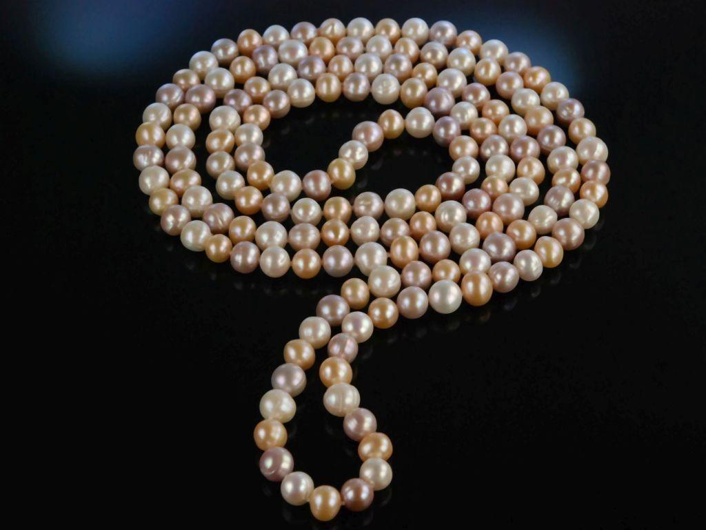 2 x 20er 30er Jahre Perlenkette 150cm für Charleston Kostüm Perlen Kette Schmuck