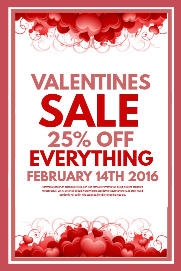 Valentineu0027s Day Sale Flyer Template Click to customize - coupon flyer template