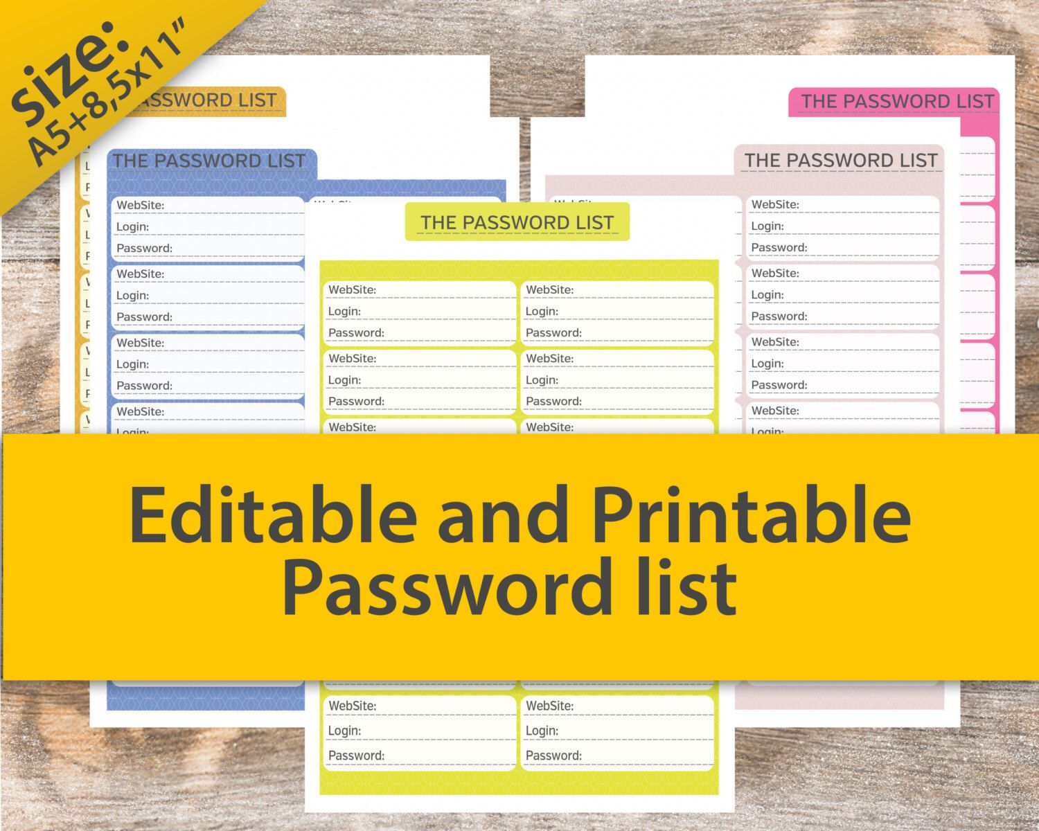 Password Organizer, Password Tracker, Password keeper, Information Keepers, Website Password Keeper, Password checklist 8.5x11 PDF von AllPrintableDesigns auf Etsy https://www.etsy.com/de/listing/212023470/password-organizer-password-tracker