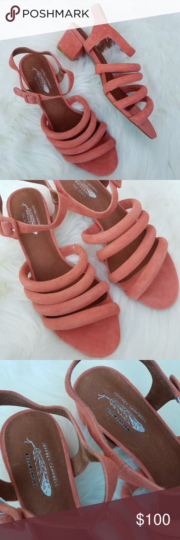 8ca7b96bb47 Free People  Jeffrey Campbell Clementine Sandals Amazing genuine suede  leather block heel sandals