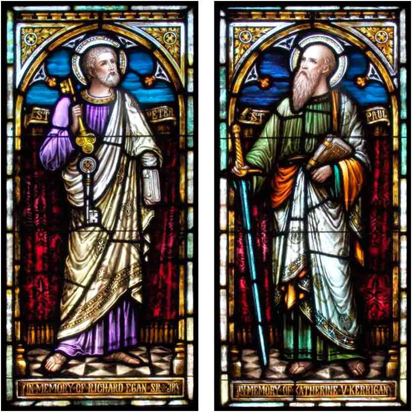Peter and Paul, stained glass windows from St. Mary of the