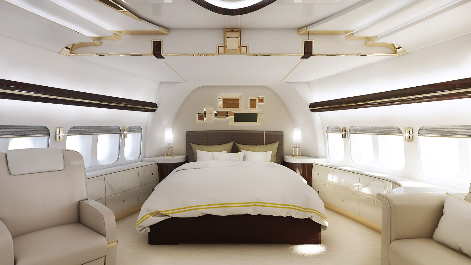 Master suite of a VIP Boeing 747-8 finished by Greenpoint Technologies, of Kirkland, Wash. Photo: Greenpoint Technologies   - PopularMechanics.com