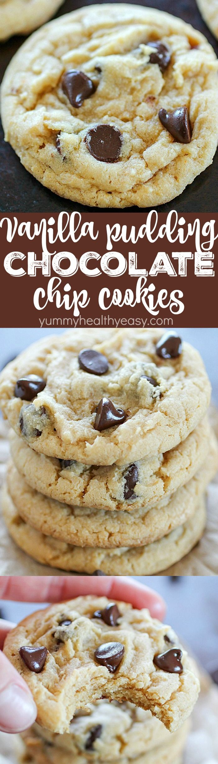 These Vanilla Pudding Chocolate Chip Cookies Have Vanilla Pudding Mixed Inside The Dough To Give Them