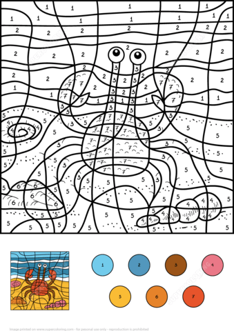 Crab Color by Number coloring page from Color by Number