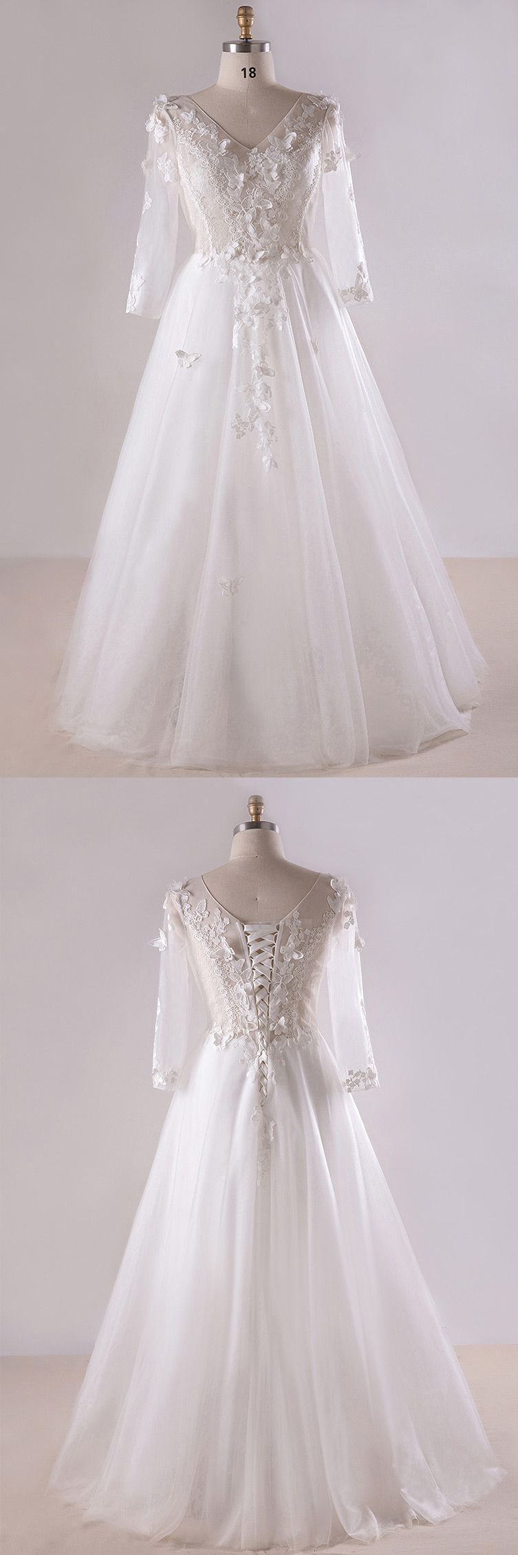 Gorgeous plus size white butterflies long tulle wedding dress with
