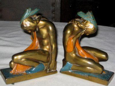 Antique, Pompeian Bronze, Native American Indian Art Sculpture Statue, Bookends | eBay