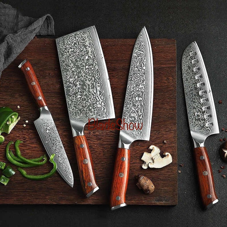 Damascus Chef Knife Set With Cleaver 4 Pieces Rosewood Etsy Damascus Steel Kitchen Knives Chef Knife Kitchen Knives