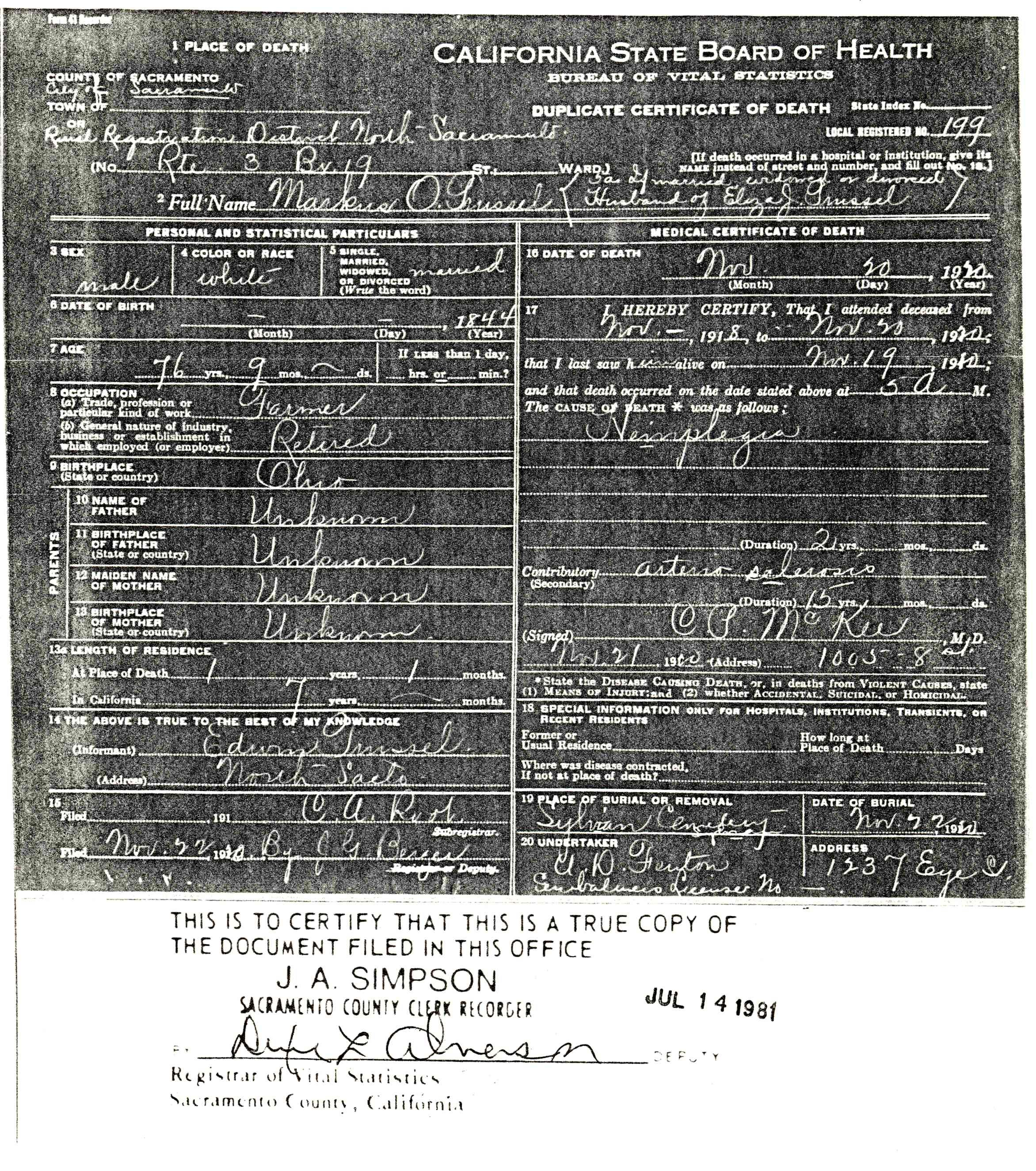 Copy of death certificate for marcus o trussel 20 november 1920 copy of death certificate for marcus o trussel 20 november 1920 rural registration 1betcityfo Choice Image
