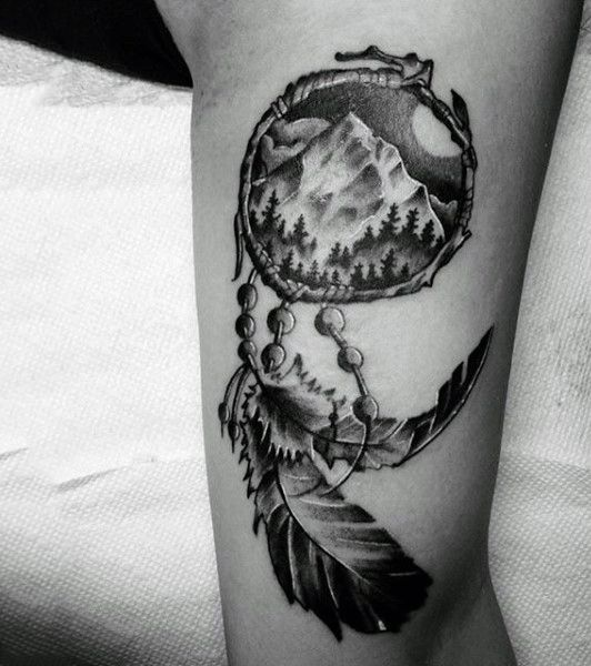 Bicep Dreamcatcher Tattoo Design With Nature Theme For Men Tattoos For Guys Dream Catcher Tattoo Rib Tattoos For Guys