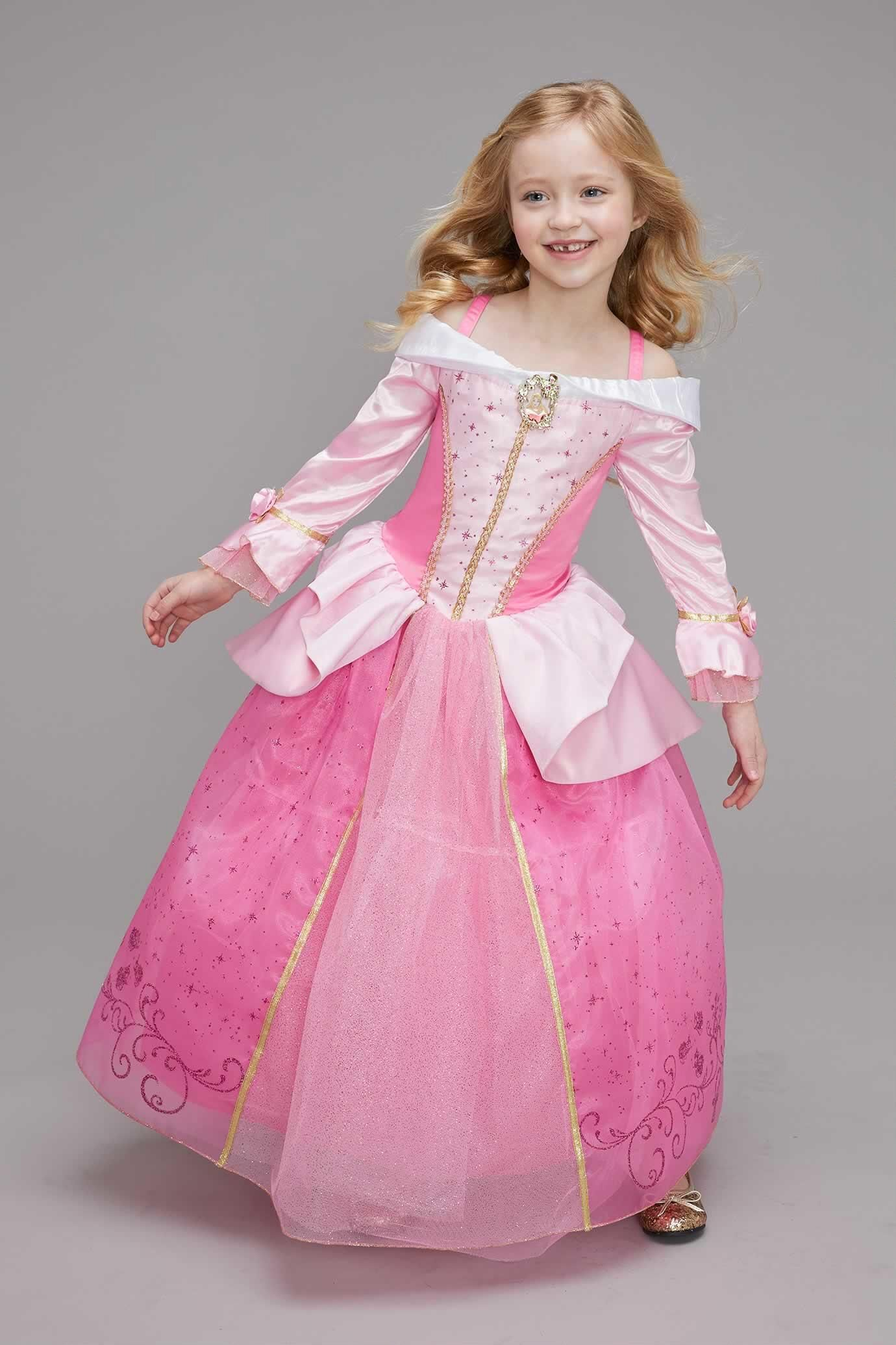 UK Girls Princess Aurora//Cinderella Fancy Dress Costume  Kids Party Gown Dresses