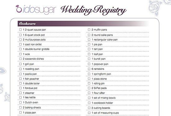Wedding Registry Checklist Ideas  Russell Wedding