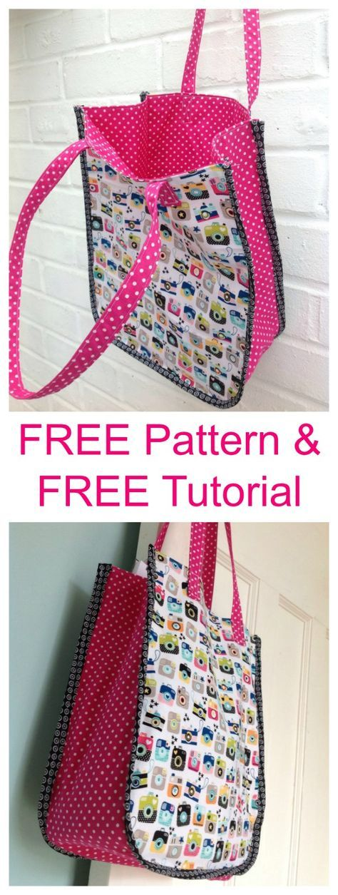 Instamatic Tote Bag - FREE Pattern & FREE Tutorial #sewingprojects
