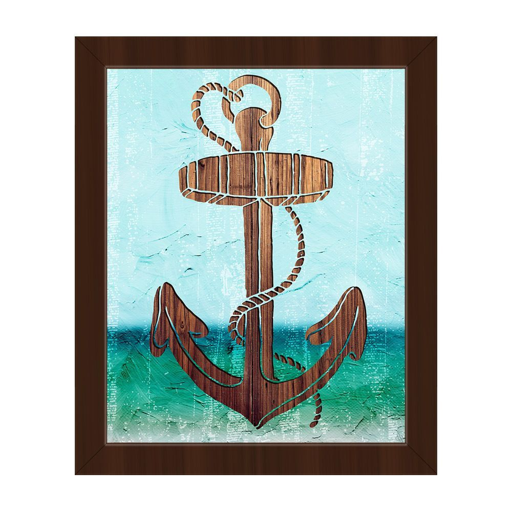 Wood Anchor On Green Framed Canvas Wall Art Art Canvas Frame Painting Prints