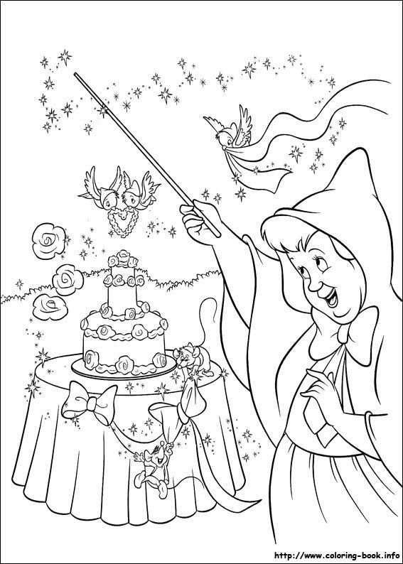 ariel coloring pages wedding flowers | Cinderella coloring picture | Disney's Princess Coloring ...