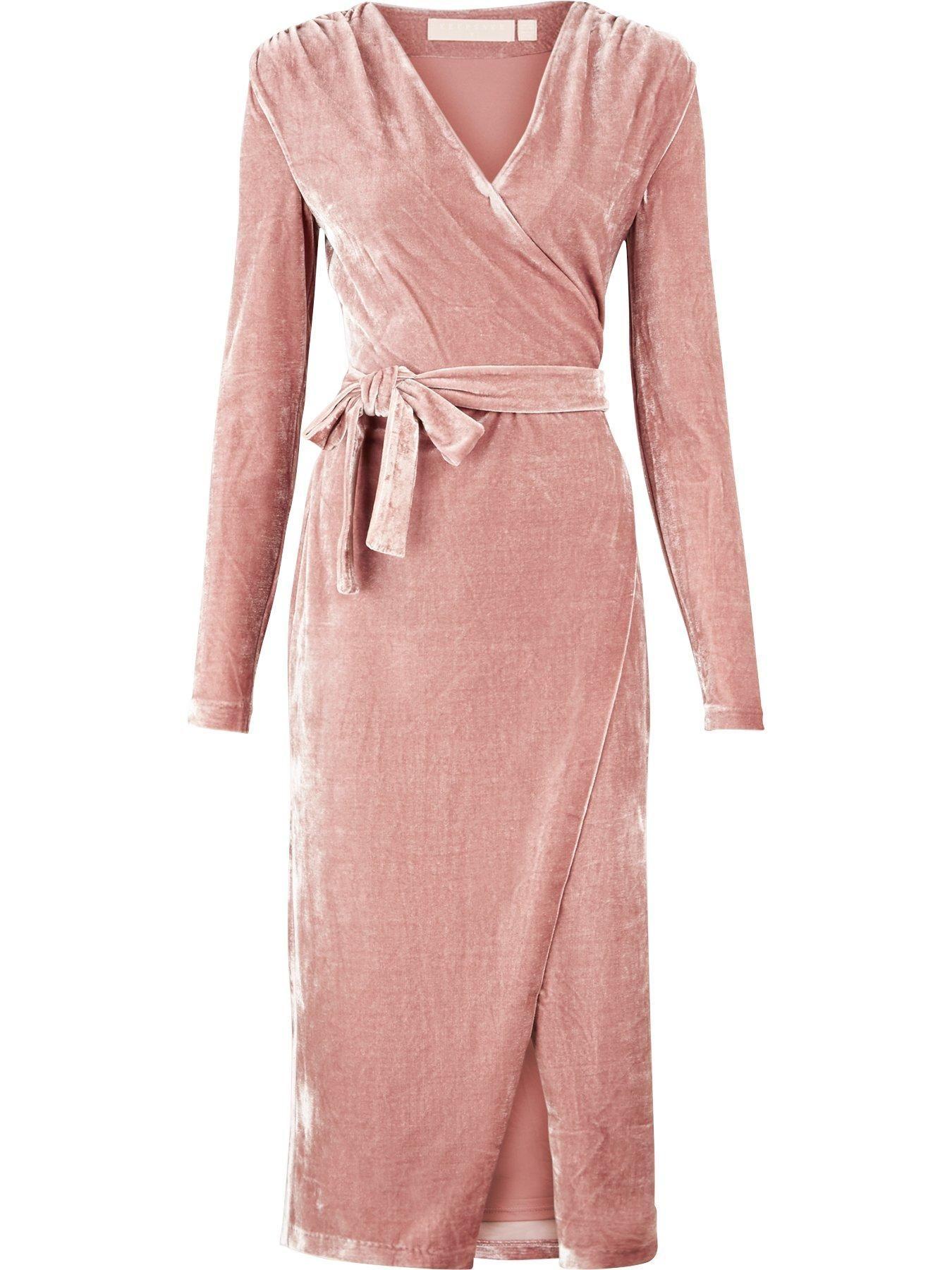 KEEPSAKE Eventually Long Sleeve Velvet Wrap Dress - Pink |  veryexclusive.co.uk