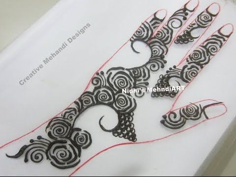 Mehndi Lotus Drawing : Quick arabic mehndi henna designs tutorial for back front hands