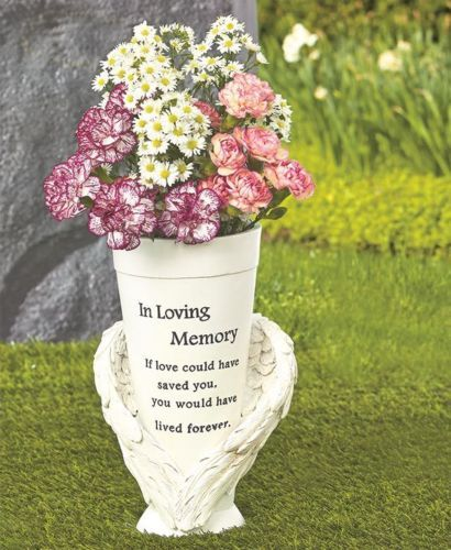 Angel Wings Inscribed Memorial Vase For Flowers Statue Ground Grave