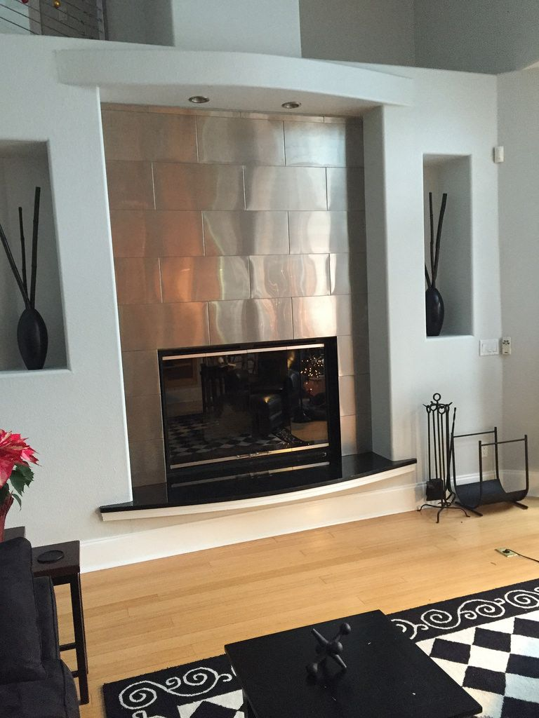 Custom Design Project Large Stainless Steel Subway Tile Around The Fire Place Create Stainless Steel Tile Stainless Steel Fireplace Commercial Kitchen Design
