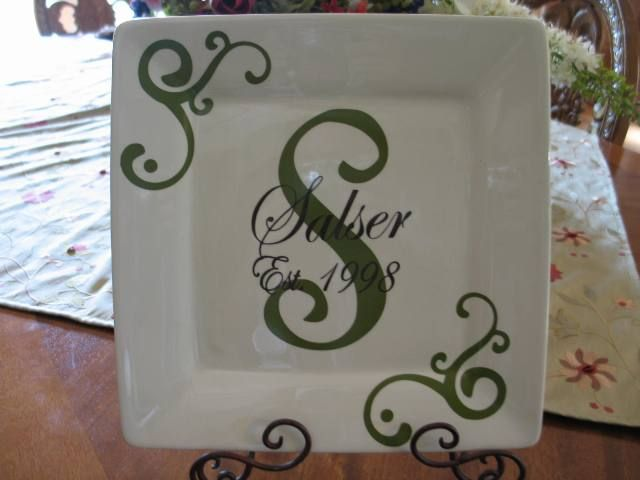 personalized anniversary wedding plate cricut crafts vinyl