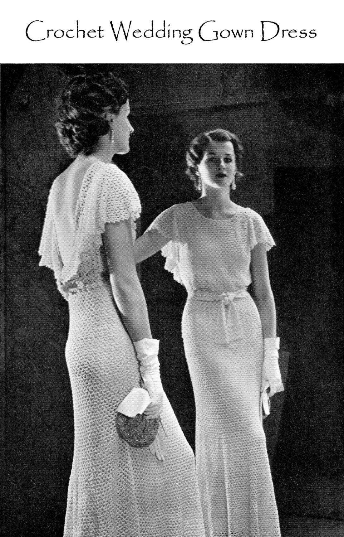Vintage s crochet wedding dress pdf pattern lace evening gown