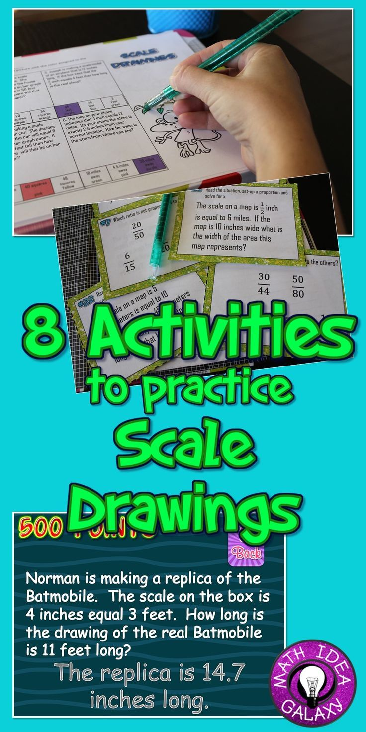 Scale Drawings - Task Card Activity (7.G.1)   Common core standards ...