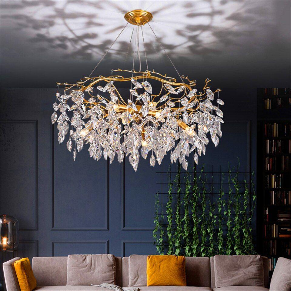 Nordic Luxury Gold Crystal Chandelier Lighting Modern Large Lustre Hanging Lamp For Living Room Hotel Hall Art Decor Lighting Chandeliers Aliexpress Crystal Chandelier Lighting Modern Lighting Chandeliers Chandelier Light Shade