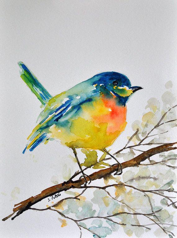 Original Aquarell Bunter Vogel Auf Einem Ast Abbildung 6 X 8 Zoll
