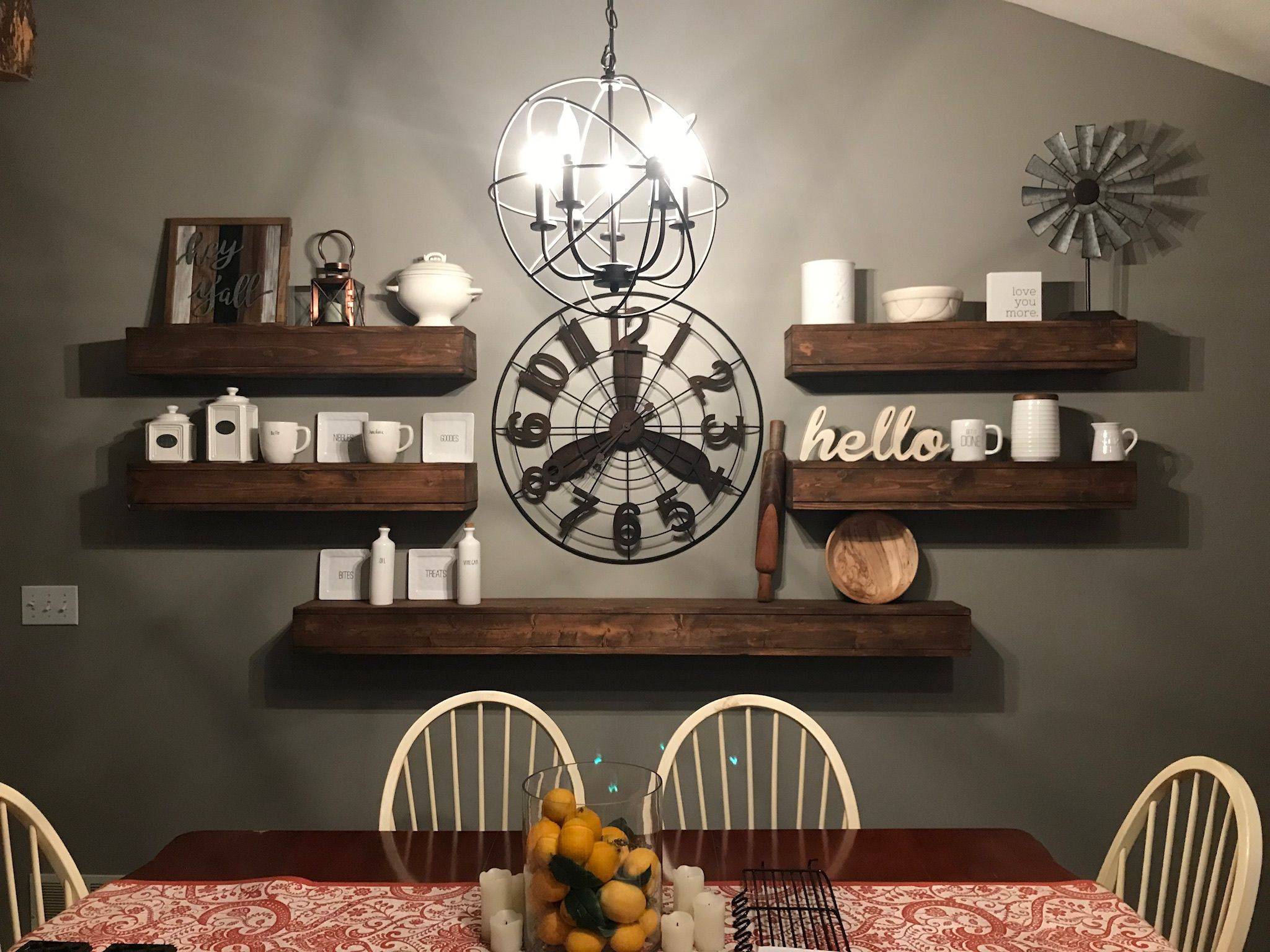 Floating Wood Shelves Large Clock Decor In 2019 Dining