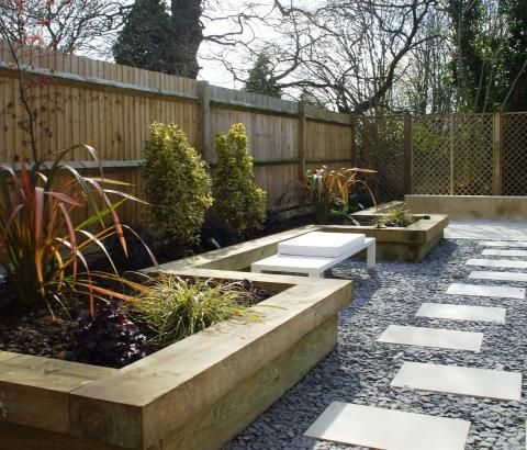 Contemporary Garden with Sleeper Raised Beds. Designed and ...