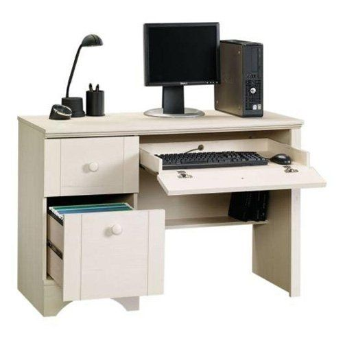 Sauder Harbor View Computer Desk Antiqued White White Computer