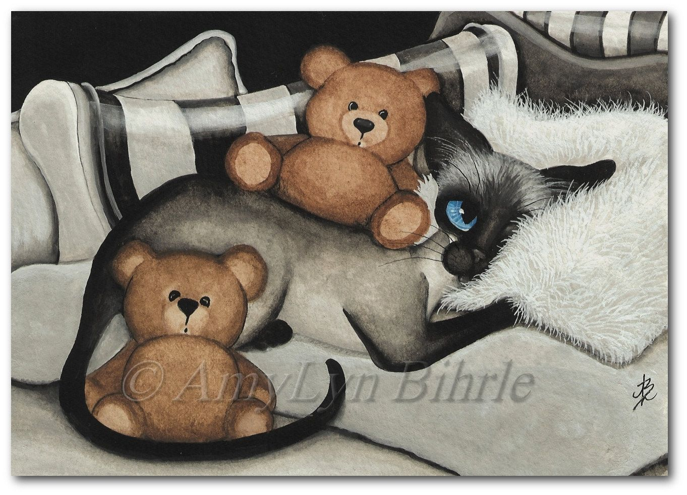 Siamese Cat Comfort Teddy Bears - Art Prints & by Bihrle ck347 door AmyLynBihrle op Etsy https://www.etsy.com/nl/listing/163425434/siamese-cat-comfort-teddy-bears-art