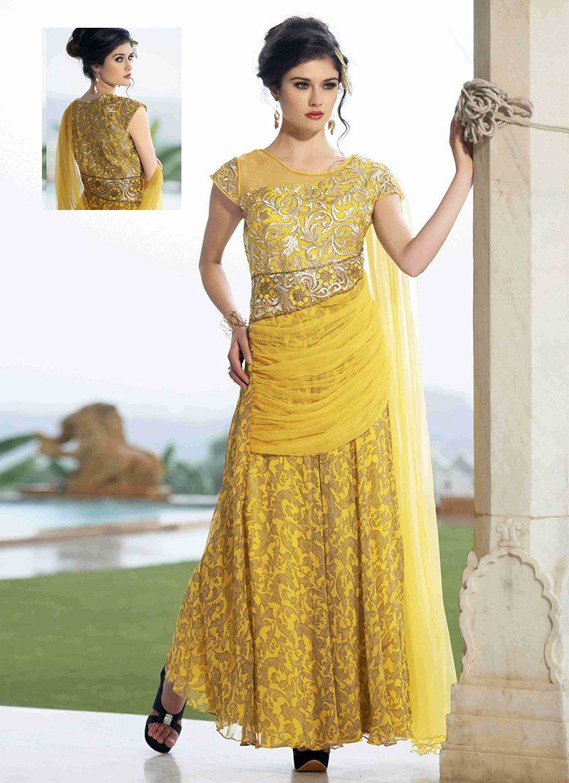 Shop online yellow georgette longgown chennaistore long gown