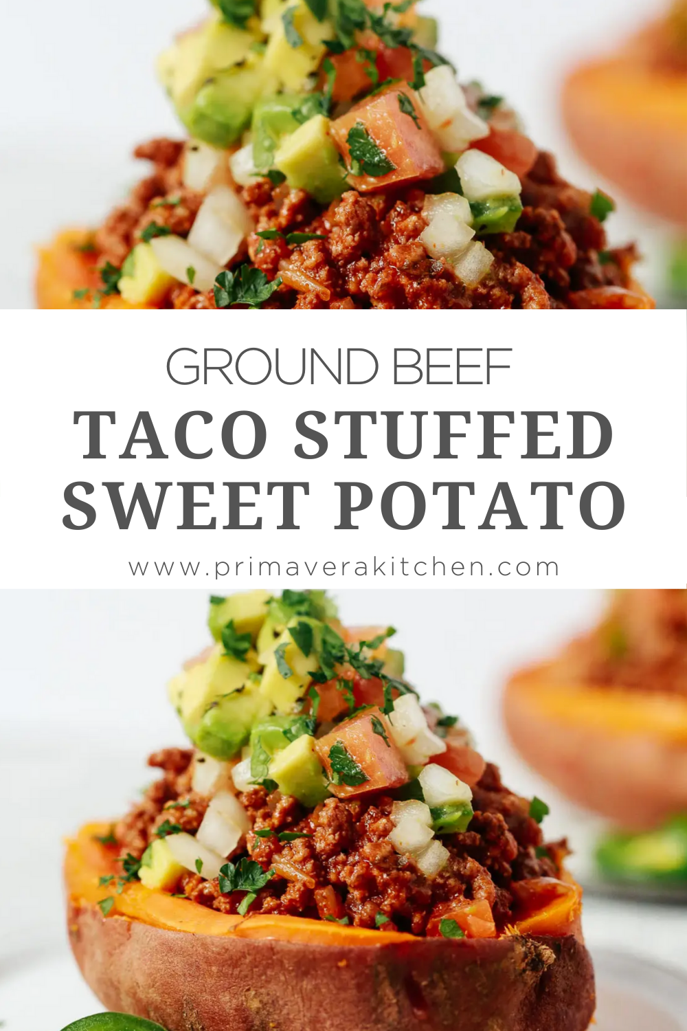 Ground Beef Taco Stuffed Sweet Potatoes Whole30 Healthy Very Delicious In 2020 Ground Beef Recipes Healthy Healthy Beef Recipes Healthy Ground Beef