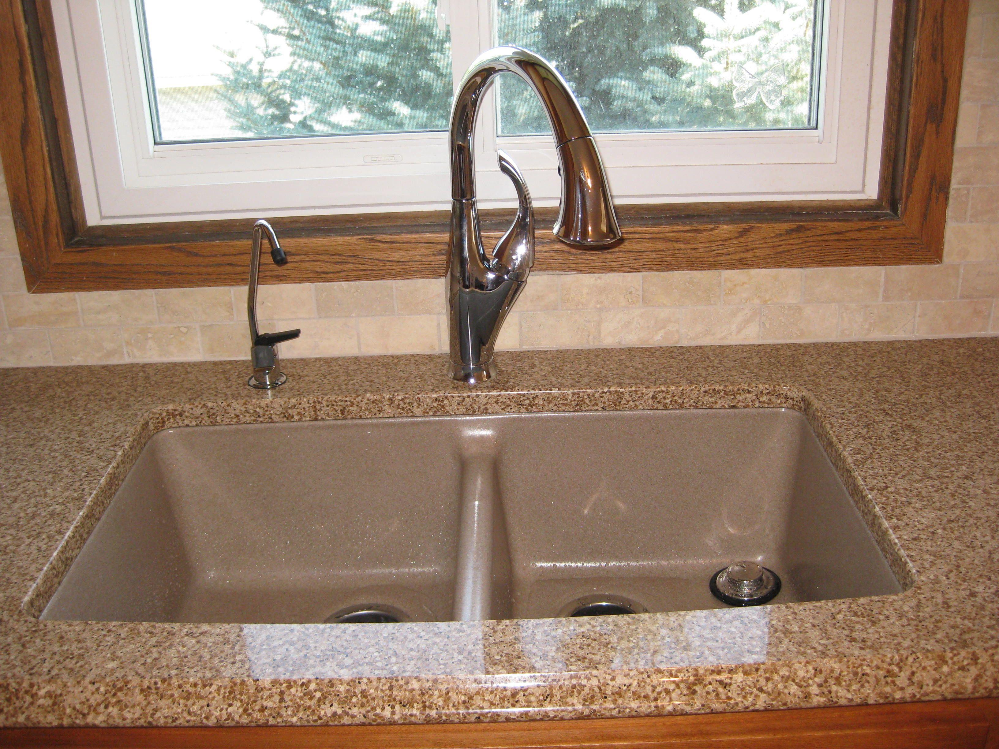 Granite countertops with bottom mount sinks