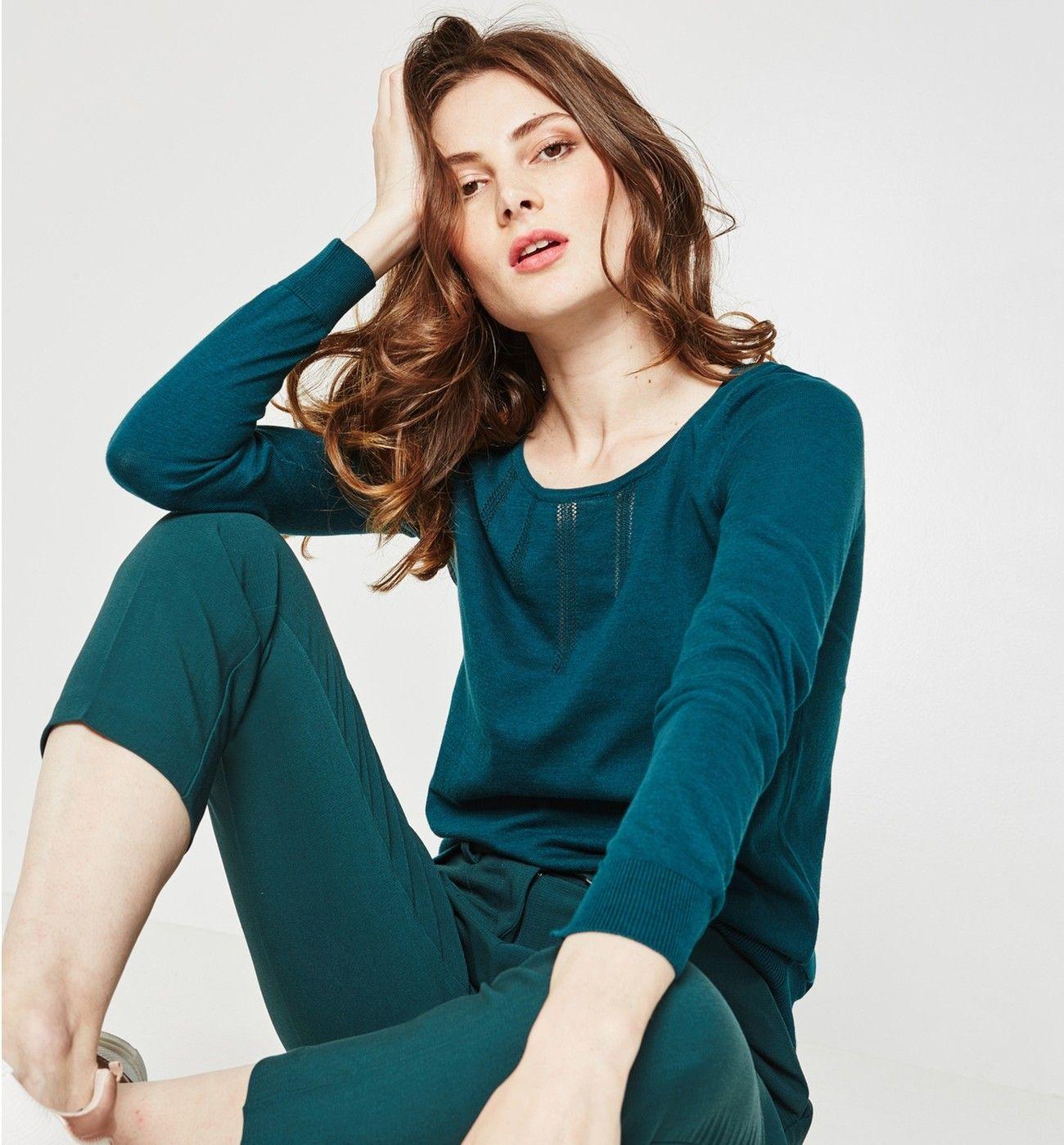 Pull fin Femme - Vert émeraude - Pulls et gilets - Femme - Promod ... 777bf063f895