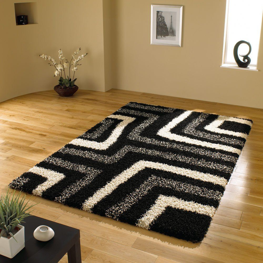 Amazon.com: Very Large Quality Shaggy Modern Rug in Black Grey 6\'7 ...