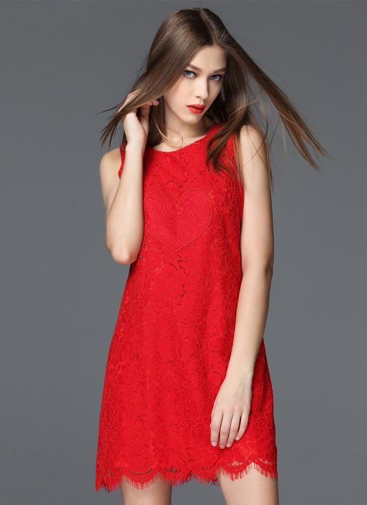Cheap Floral Lace O-Neck Sleeveless Elegant Slim Evening Banquet Red Dress for Sale - Chicuu.com