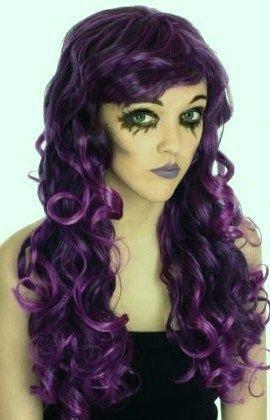 Halloween Fancy Dress Witch Long Curly Purple Wig | eBay