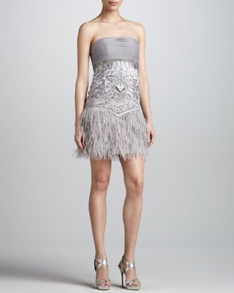 Strapless Feather-Hem Dress by Sue Wong at Neiman Marcus.