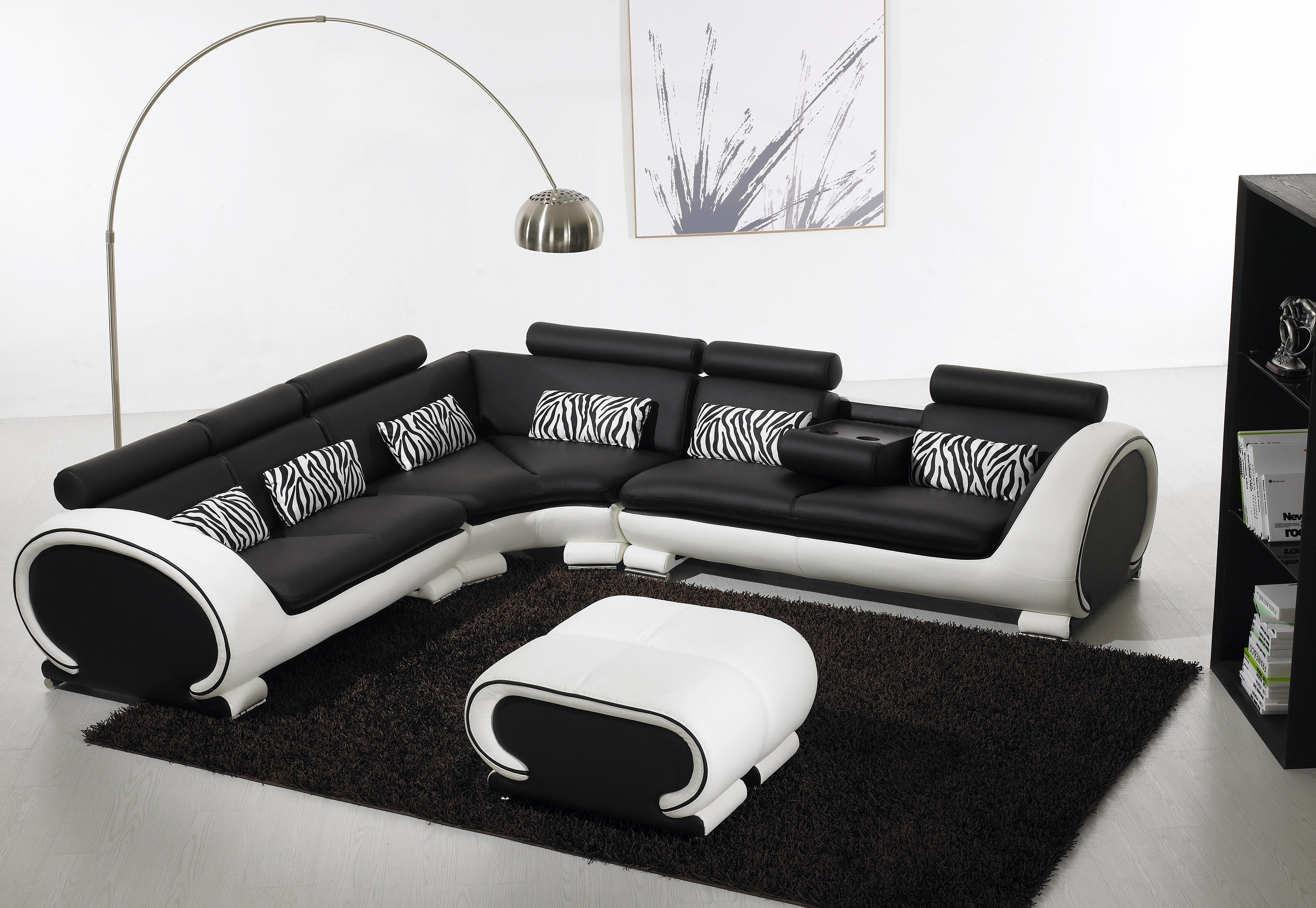 Blossom Corner Black And White Leather Sofa Suite For More