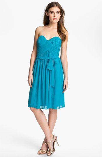 Donna Morgan Ruched Chiffon Bridesmaid Dress In Caribbean Blue