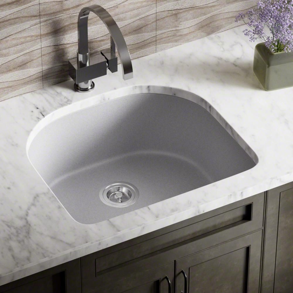 Mr Direct All In One Undermount Granite Composite 24 75 In 0 Hole