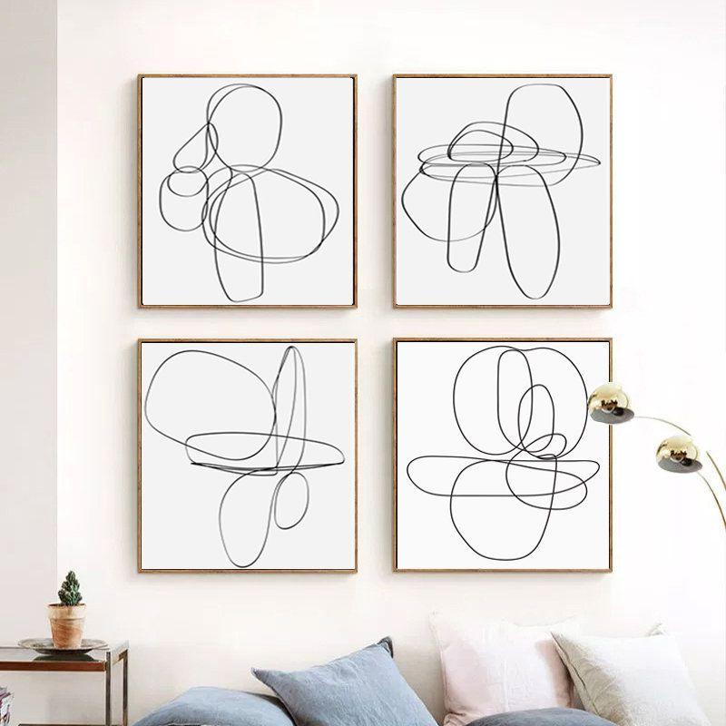 Line Print Geometric Line Art Abstract Artwork Set Of Four Etsy Abstract Line Art Line Art Pink Abstract Art