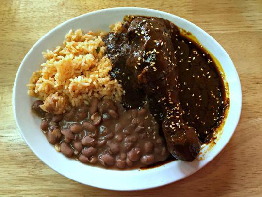 Mole Poblano Plate At Las Molenderas Via At Las Solitary And Nocturnal Mole Poblano Mexican Food Recipes Food