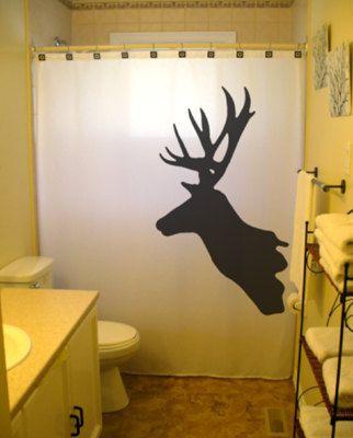Deer Shower Curtain Trophy Hunter Bathroom Decor Buck Reindeer Antlers Moose Magestic Doe Custom