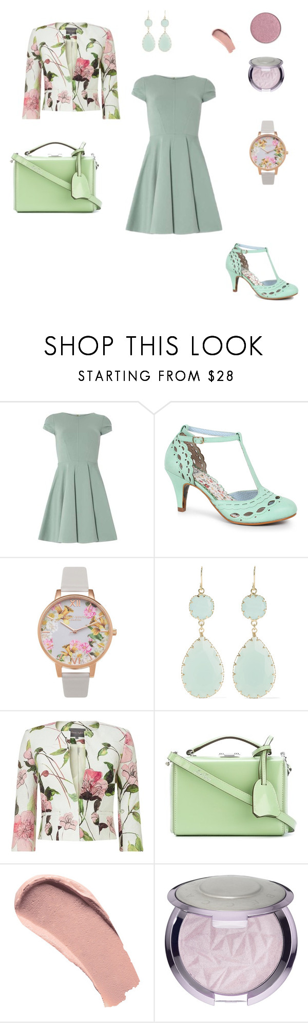 """""""Mint is Everything Dressy Outfit"""" by katieized ❤ liked on Polyvore featuring Dorothy Perkins, Bettie Page, Olivia Burton, Kenneth Jay Lane, Phase Eight, Mark Cross and Burberry"""