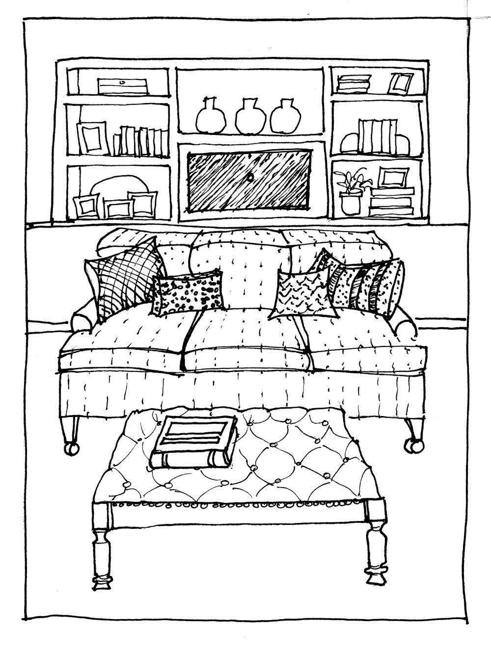 One Perspective Drawing Room: One-Point Perspective Interior Sketch