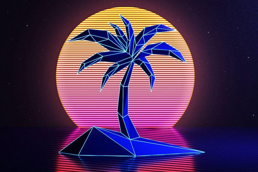 Palm tree by wossen on DeviantArt Retro, Neon