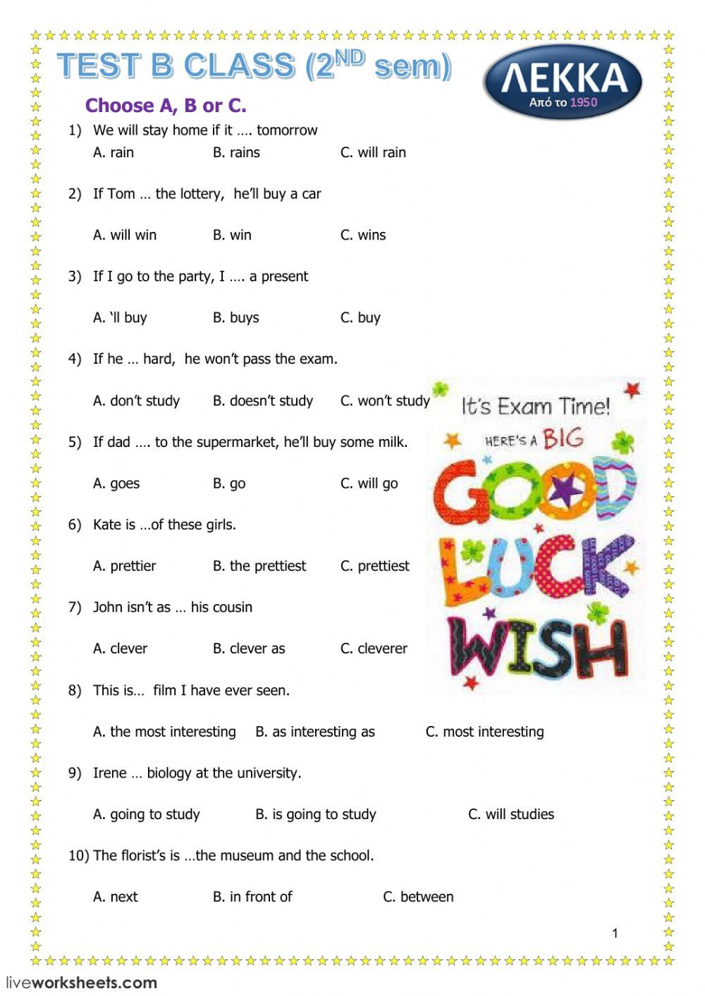 First Conditional Interactive And Downloadable Worksheet You Can